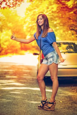 Hitchhiking By Broken Car