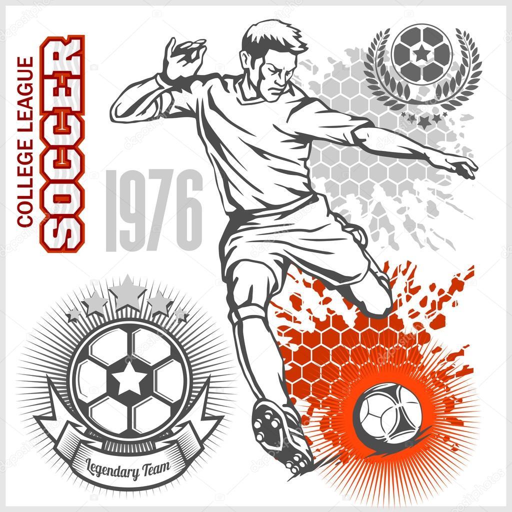 Fussball Spieler Treten Ball Und Fussball Embleme