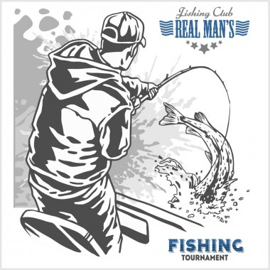 Fisherman and fish - vintage illustration plus retro emblem
