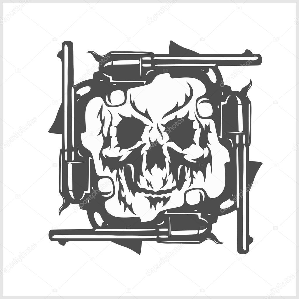 Gangster skull and frame of pistols. — Stock Vector © Digital ...