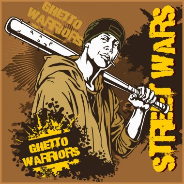 Hooligan with baseball bat. Ghetto Warriors. Gangster on dirty graffiti background.