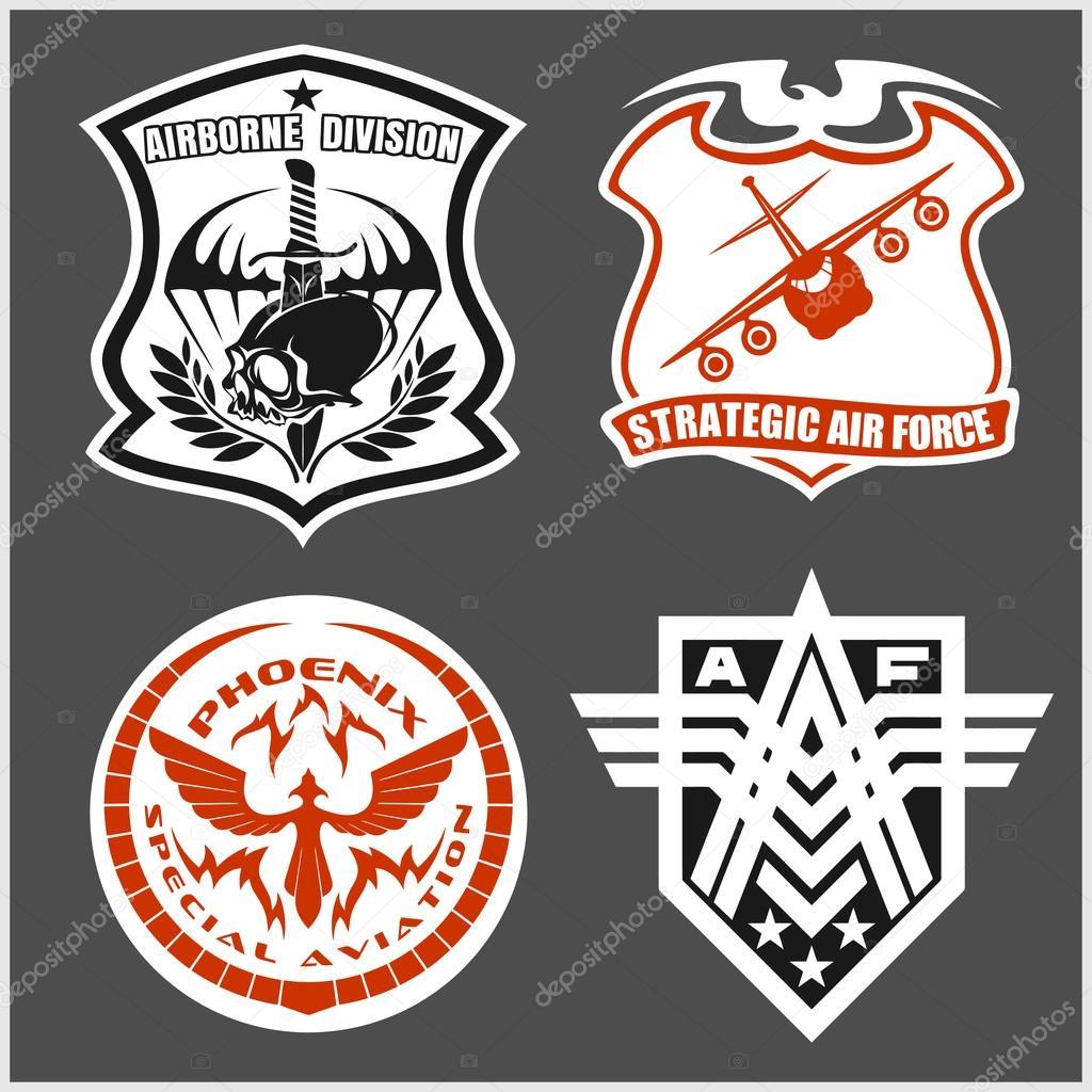 Conjunto de patches força aérea militar - forças armadas emblemas e  etiquetas de logotipo — Vetores 53ad72310f5