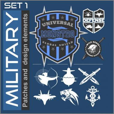 Set of military patches logos, badges and design elements. Graphic template.