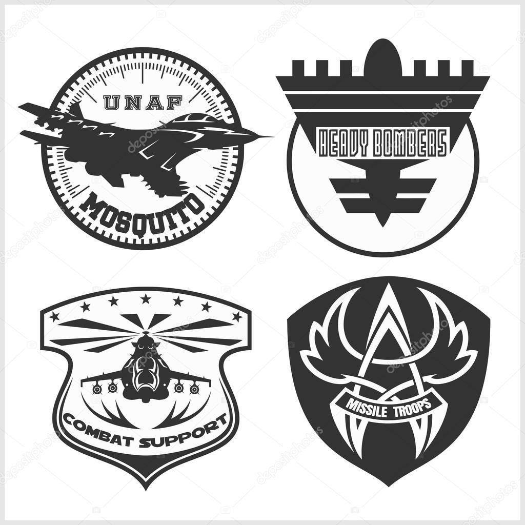 air force military emblem set vector design template stock vector digital clipart 105622266. Black Bedroom Furniture Sets. Home Design Ideas
