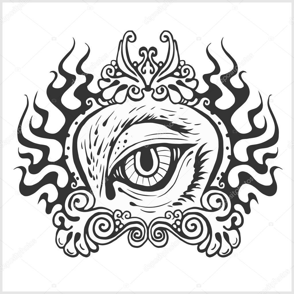 Abstrait Oeil Pour Le Design De Tatouage Image Vectorielle Digital