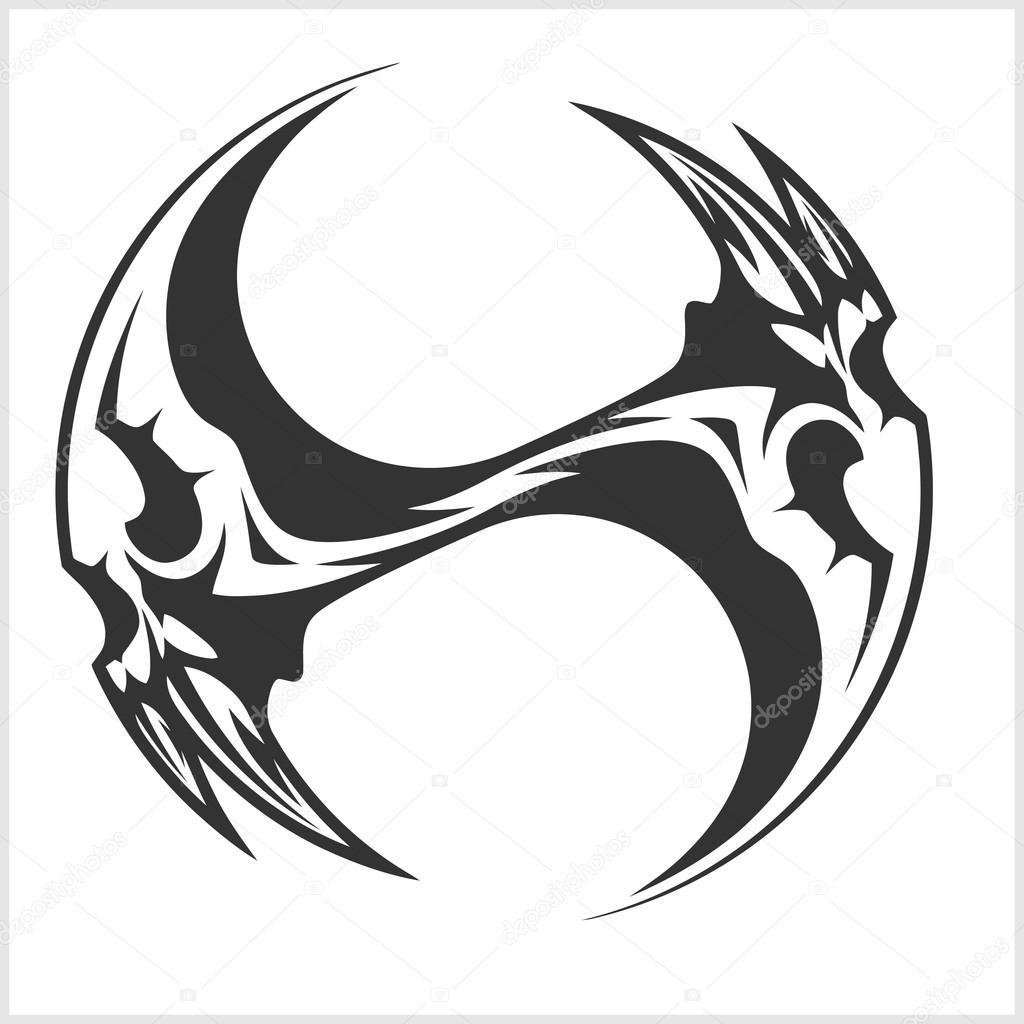 Yin Yang Czaszki Projekt Tatuaż Czarno Biały Grafika Wektorowa