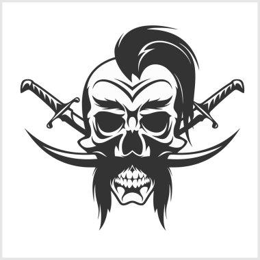 Ukrainian emblem - Cossack skull and crosses sabers. Vector vintage illustration.