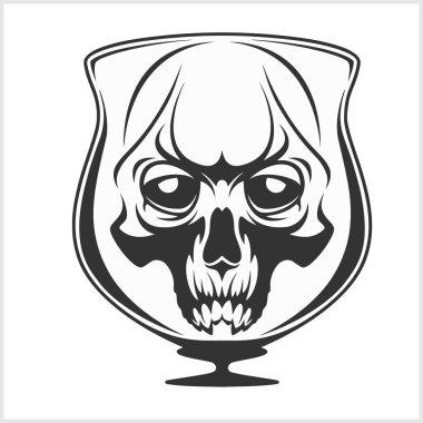 Skull in glass - Alcohol addiction