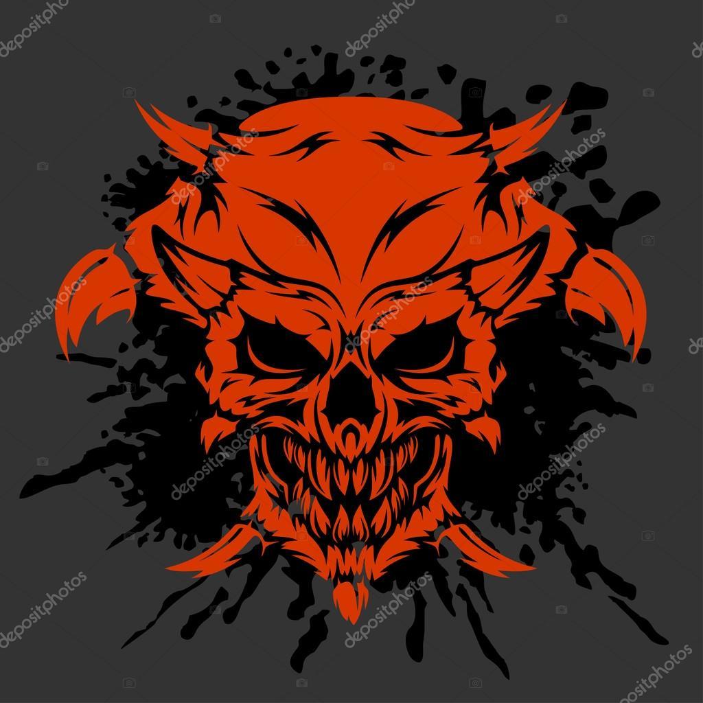 demon skull on white stock vector digital clipart 113364250