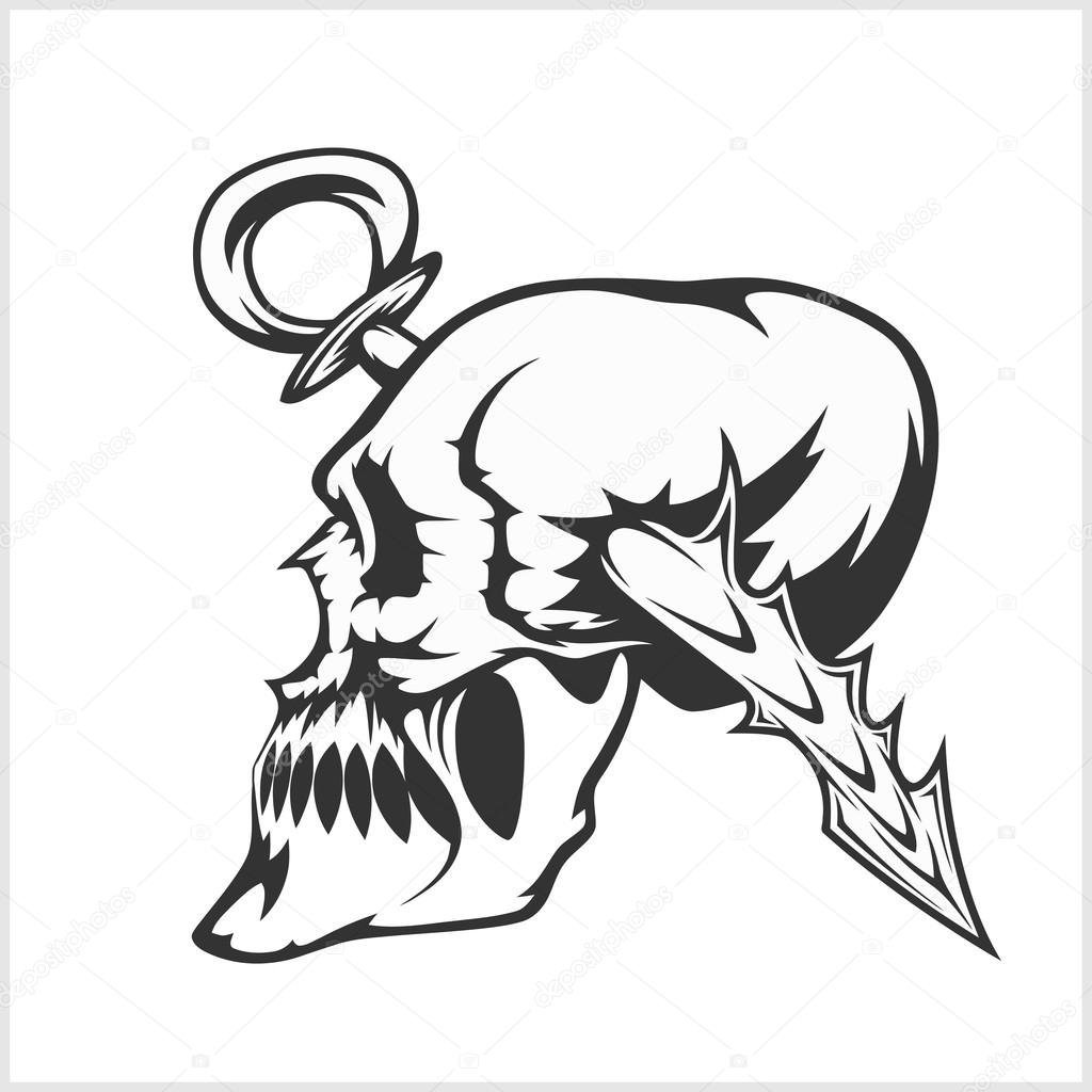 Craneo Dibujo Tattoo Cráneo Tatuajes Y Tribales Diseño Aislado