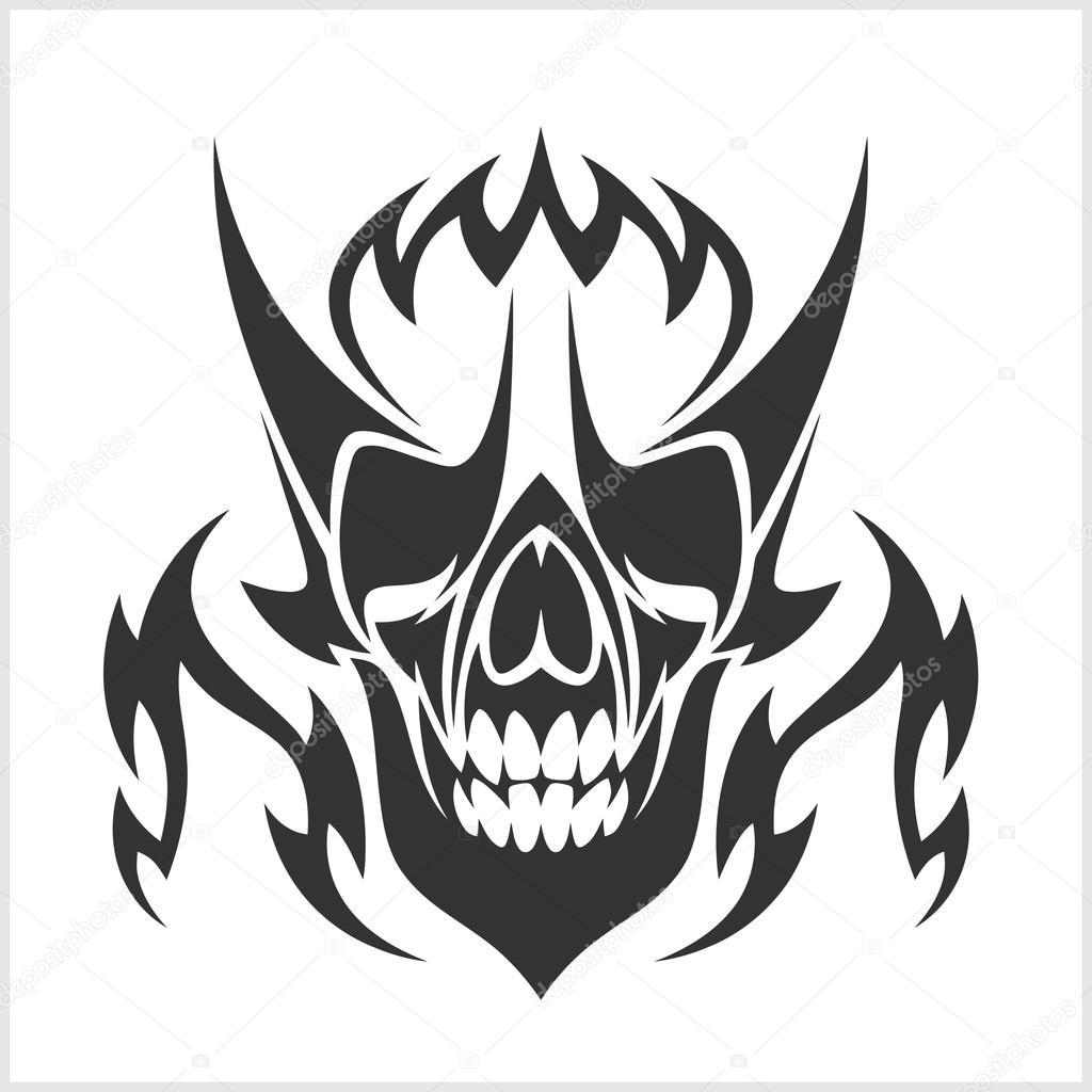Diseños Blanco Y Negro Tatuajes Cráneo Tatuajes Y Tribales Diseño