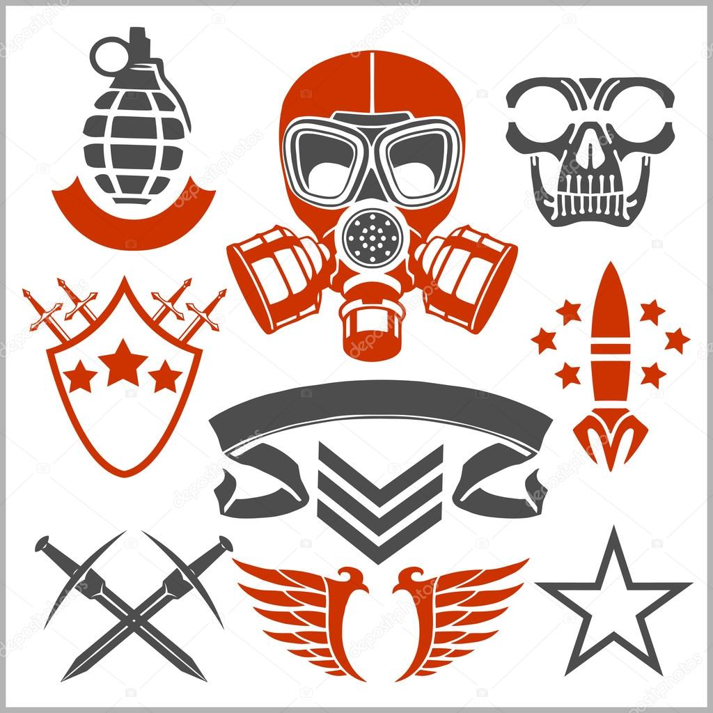 Military Symbols With Weapon And People Uniform Stock Vector