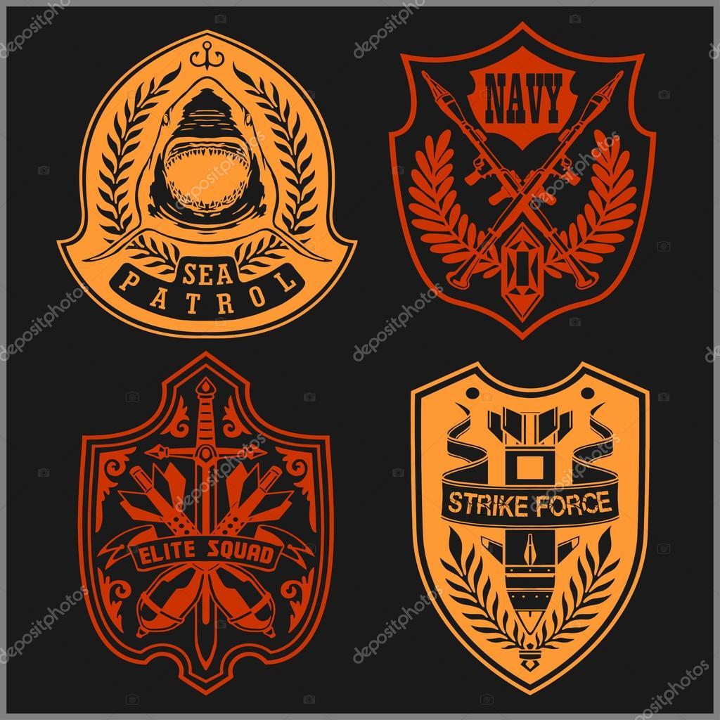 Conjunto de militares - exército Patches e emblemas 4 — Vetores de Stock 34924a05abe