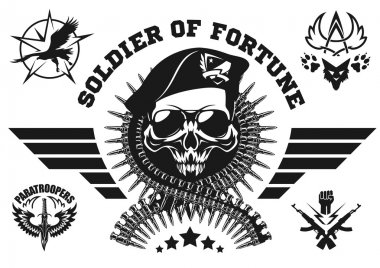 Special forces vector emblem with skull, ammunition and wings. Vector set. stock vector