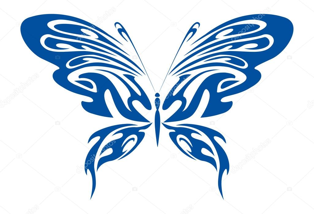 Blue Tribal Butterfly — Stock Vector © Digital-Clipart ...