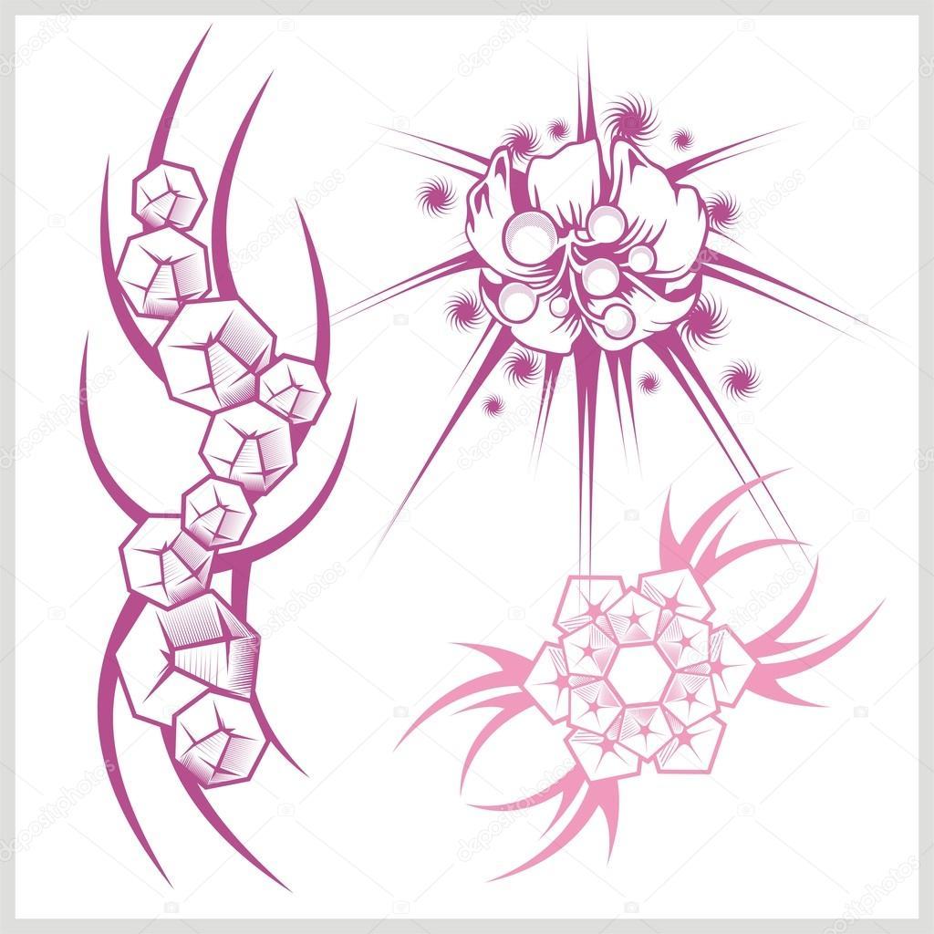 Diseño De Flores Para Tatuajes Archivo Imágenes Vectoriales