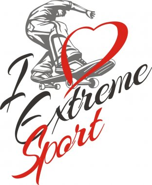 I love extreme sport. Skateboarder and hearts.