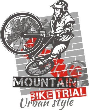 Mountain bike trial - vector design