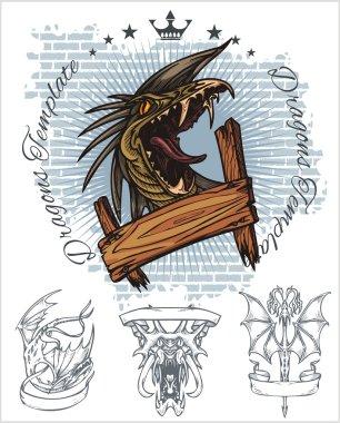 Dragon and ribbon - vector set. Stock illustration.