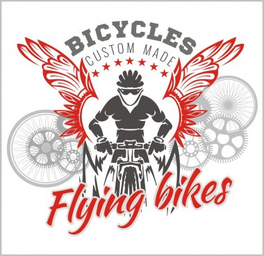 Designs with Flying Bicycle for fashion. Vector illustration.