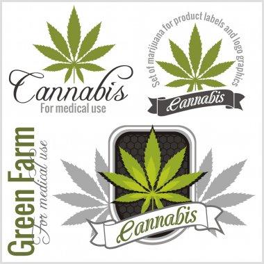 Marijuana - cannabis. For medical use. Vector set.