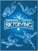Photo Skydiving. Vector set - emblem and skydivers.