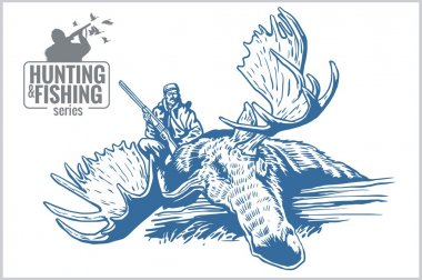Hunting and fishing vintage emblem
