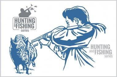 Hunter and boar - vintage illustration