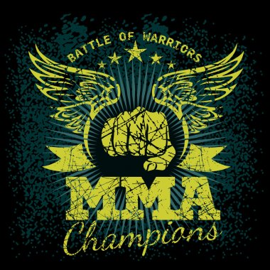 MMA labels on grunge background