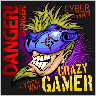 Crazy Gamer -  Emblem for T-Shirt