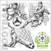 Fotografie Fotbal a fotbalisty a emblémy pro sport team