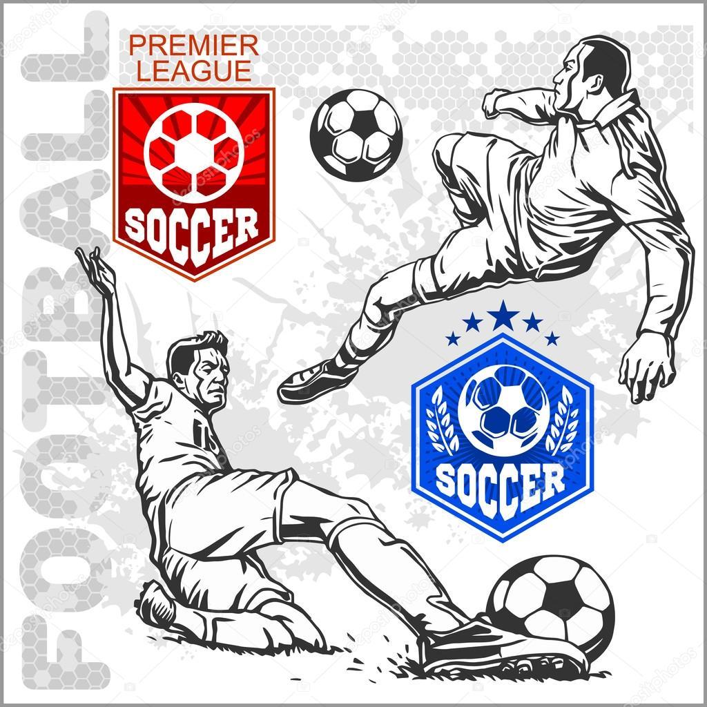 Jogadores de futebol e futebol. Emblemas e logotipo para equipe de esporte  — Vetor por Digital-Clipart e25abbcb9d7d8