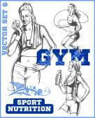 Fitness dívky - vektorový soubor