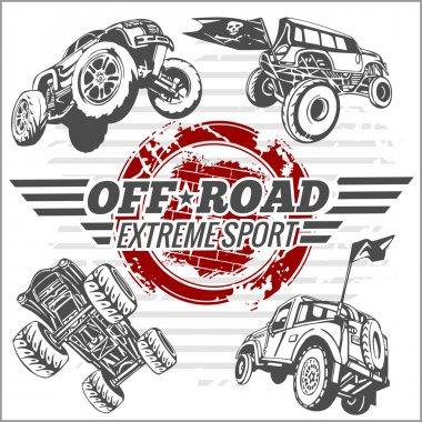 Vector emblem with off-road cars