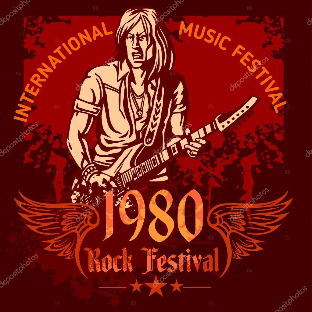 Rock Konzert Plakat 80er Jahre Vektor Illustration Stockvektor