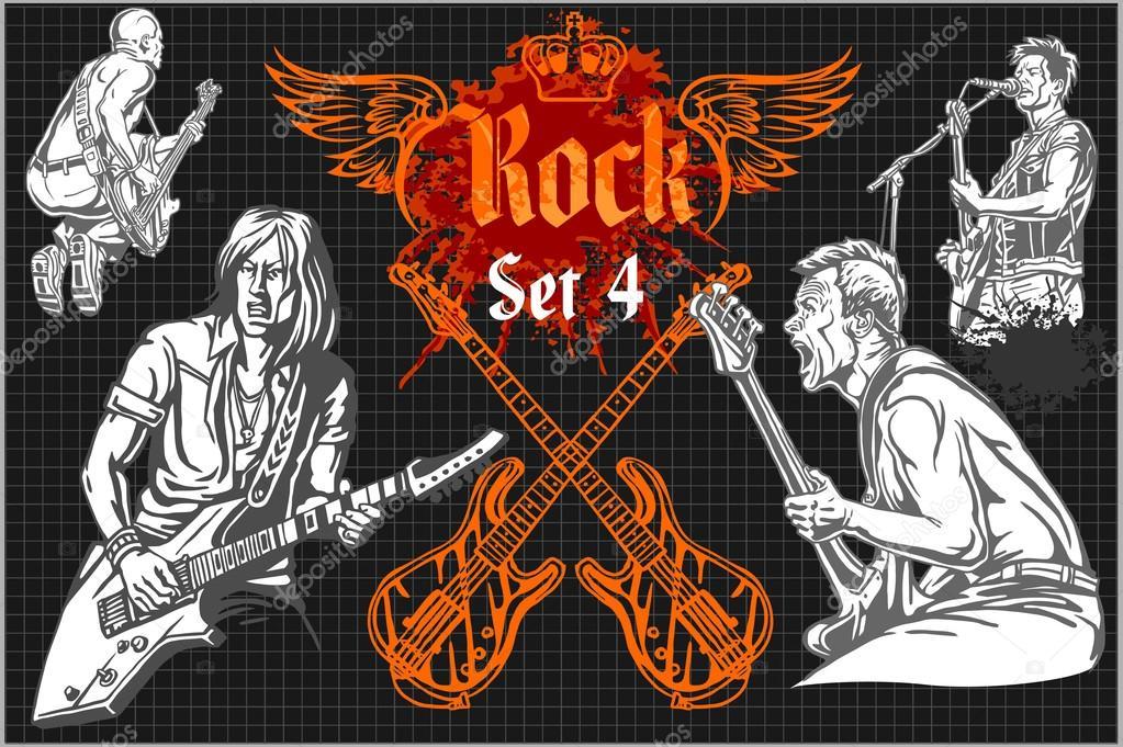 Rock Concert Poster 1980s Vector Illustration Stock Vector