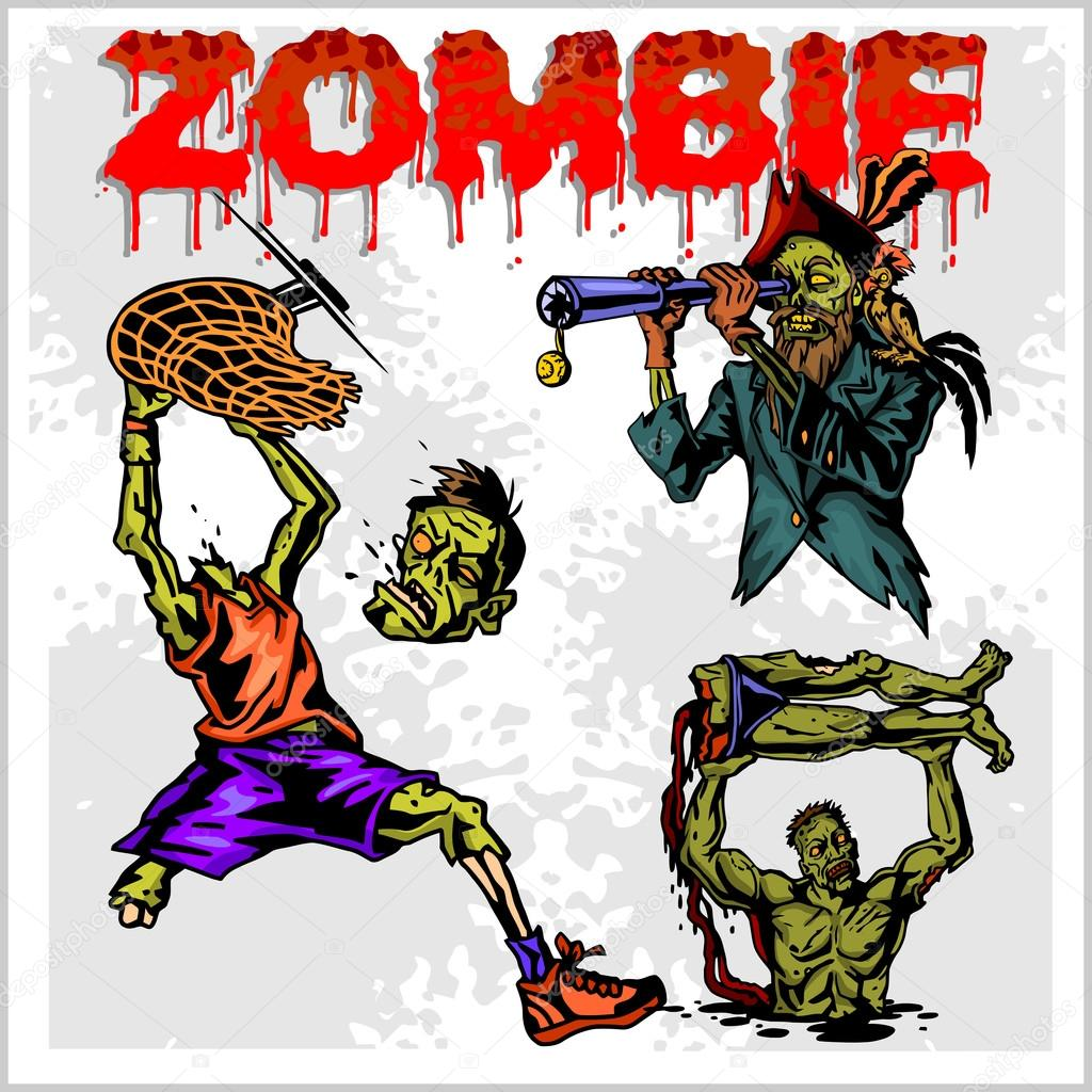 cartoon zombie vector set � stock vector 169 digital