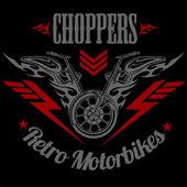 Elementi di disegno, distintivo ed etichetta retro motociclo