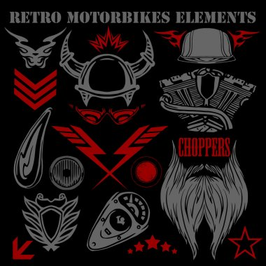 Design elements on black background for vintage motorbikes - vector set.
