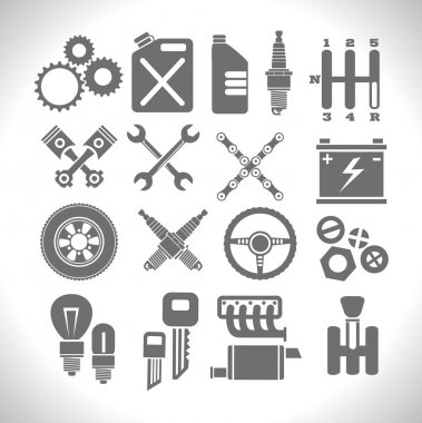 Car part icons set on a light background. Vector stock.