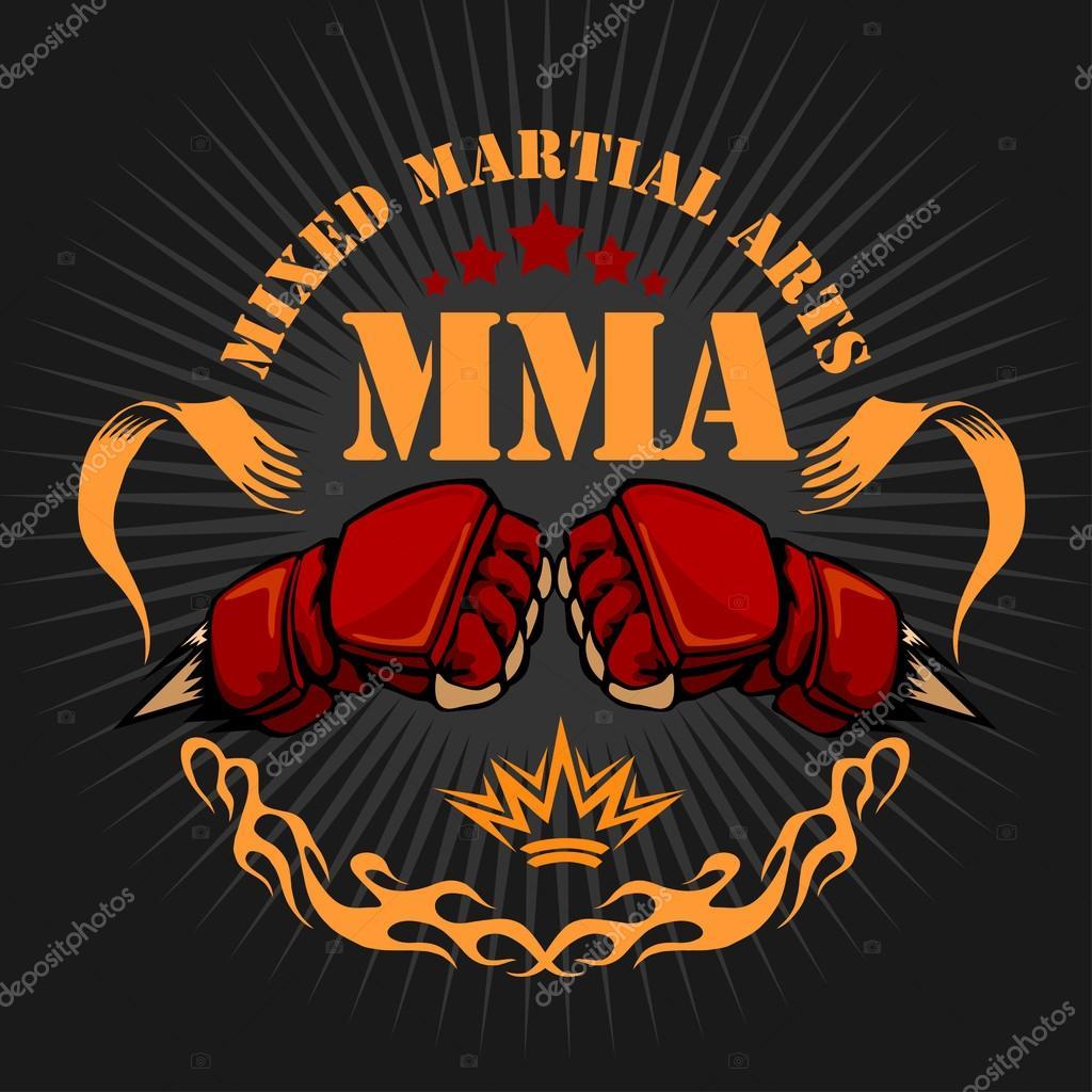 MMA mixed martial arts emblem badges. Vector emblem stock vector