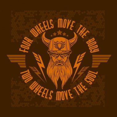 Bearded biker. Vector vintage bikers badge.