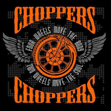 Choppers - vector vintage bikers badge.