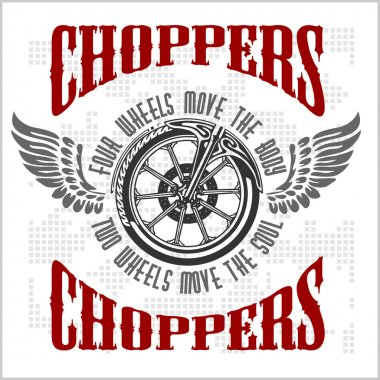 Choppers - vector vintage bikers badge.