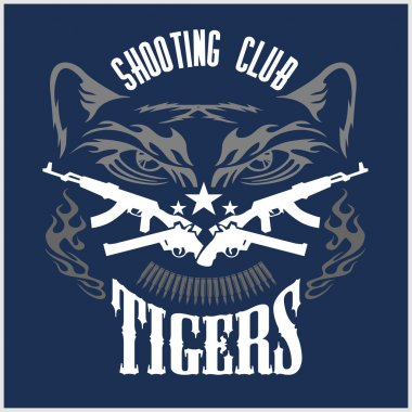 Shooting Club - emblem with crossed guns and tiger head. Vector illustration stock vector