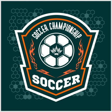 Vector Soccer Badge - emblem on dark background.