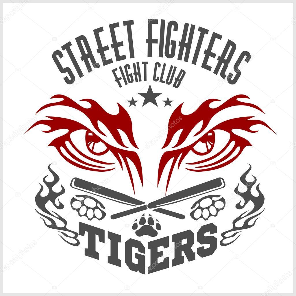 Kämpfe Verein Wappen Tiger Eye Etiketten Abzeichen Logos
