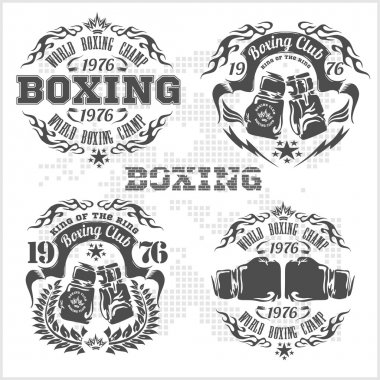 Set of vintage boxing emblems, labels, badges, logos and designed elements. Gray style.