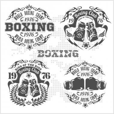 Set of vintage boxing emblems, labels, badges, logos and designed elements. Gray style.