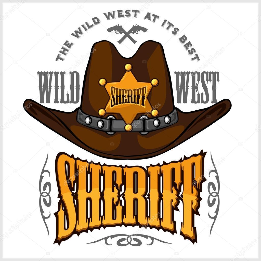 Cappello da cowboy e sceriffi star - distintivo di vettore ed emblema su  bianco — Vettoriali di Digital-Clipart adff33a52250